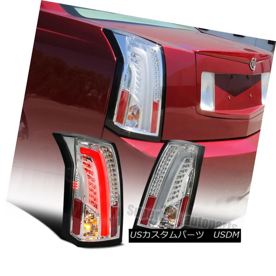 テールライト LED Bar 2003-2007 Cadillac CTS Chrome Housing Clear Lens Tail Brake Lights LEDバー2003-2007キャデラックCTSクロームハウジングクリアレンズテールブレーキライト