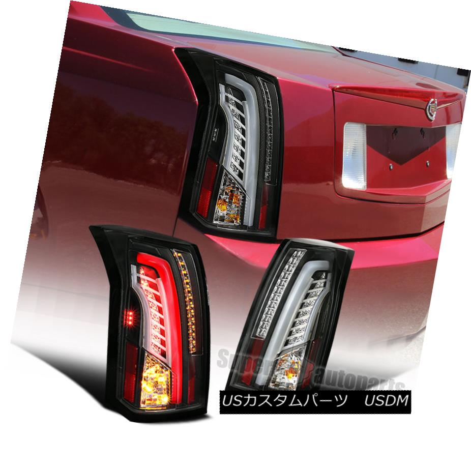テールライト LED Bar 2003-2007 Cadillac CTS Black Housing Clear Lens Tail Brake Lights LEDバー2003-2007キャデラックCTSブラックハウジングクリアレンズテールブレーキライト