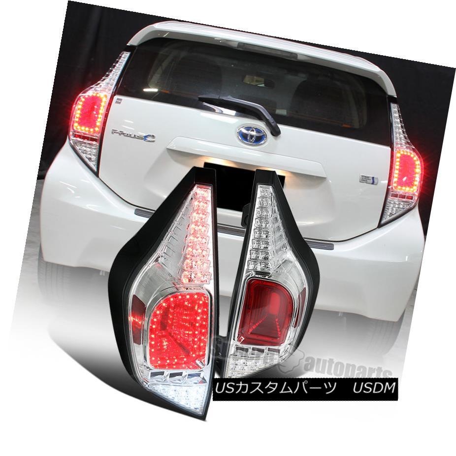 テールライト 2012-2014 Toyota Prius C Full LED Rear Tail Brake Lights Chrome/ Clear 2012年?2014年Toyota Prius CフルLEDリアテールブレーキライトクローム/クリア