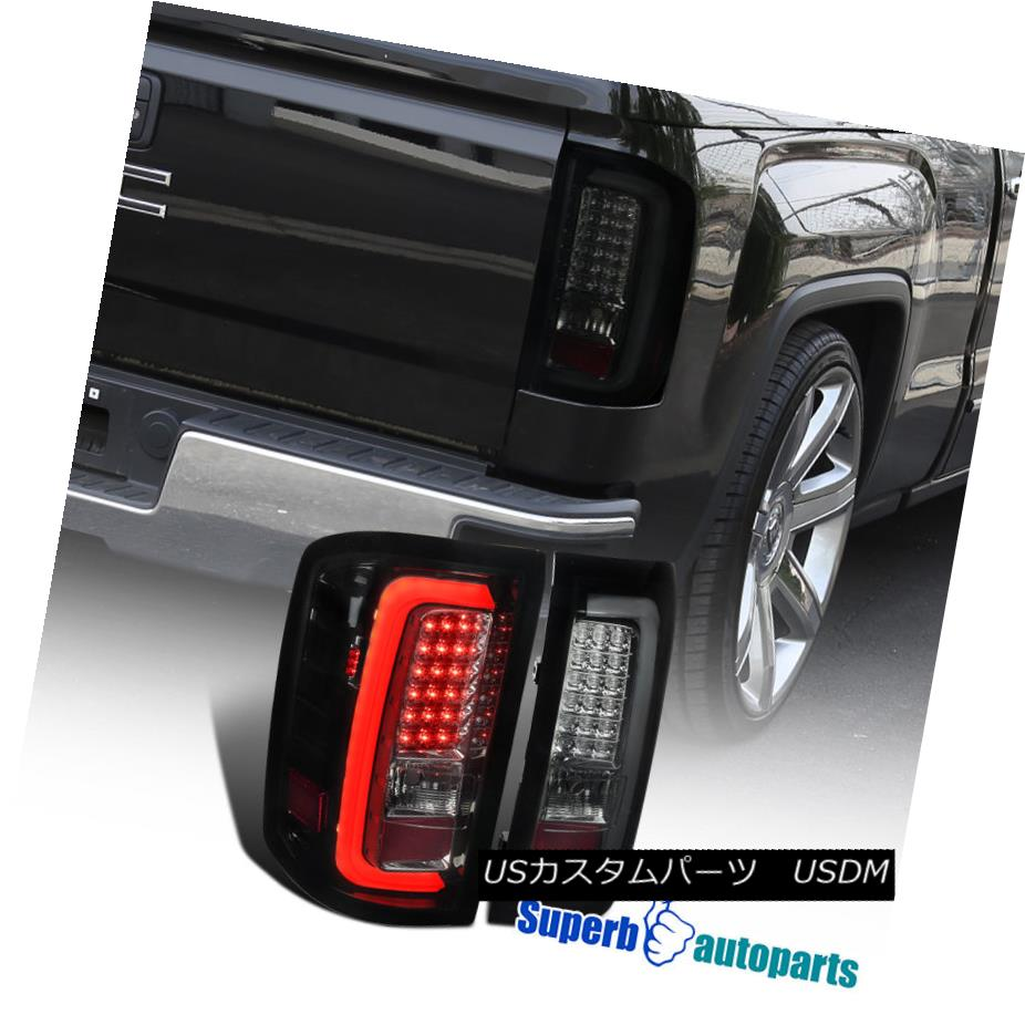 テールライト 2014-2017 GMC Sierra 1500 2500HD 3500HD LED Tail Brake Lights Glossy Black Smoke 2014-2017 GMC Sierra 1500 2500HD 3500HD LEDテールブレーキライトグロスブラックスモーク