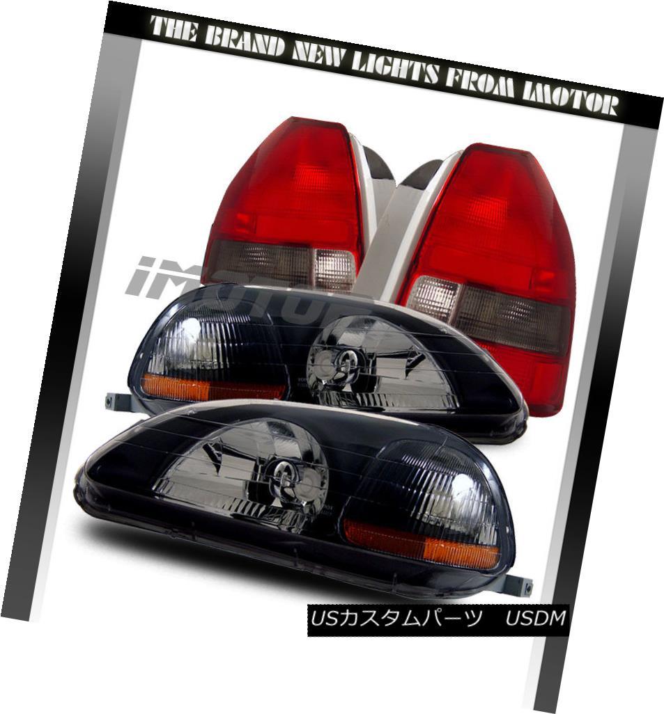 テールライト 96-98 Civic EK EJ Hatchback BLK Headlights Front/Red Smoke Tail Lamps Set Combo 96-98シビックEK EJハッチバックBLACKヘッドライトフロント/レッド煙テールランプセットコンボ