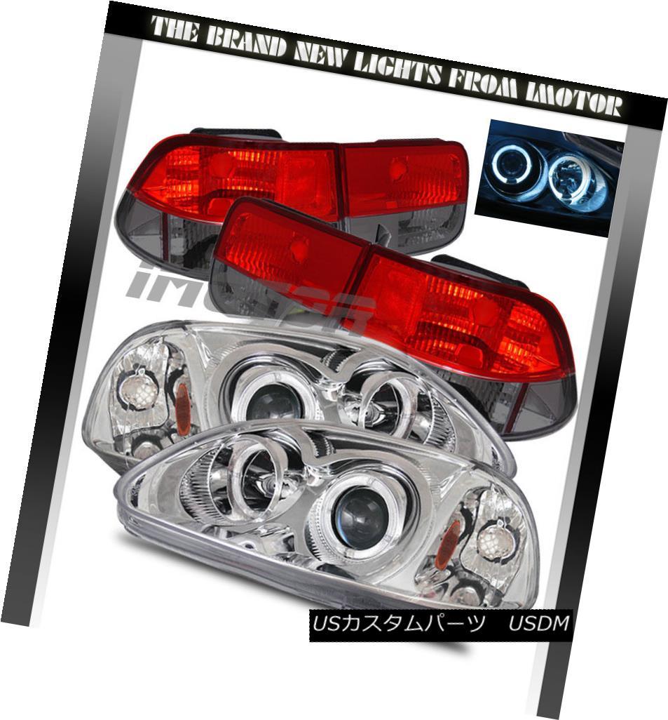 テールライト 1996 1997 1998 Honda Civic 2DR Chrome Projector Headlights+Red Smoke Tail Lamps 1996 1997 1998 Honda Civic 2DRクロームプロジェクターヘッドライト+レッドスモークテールランプ