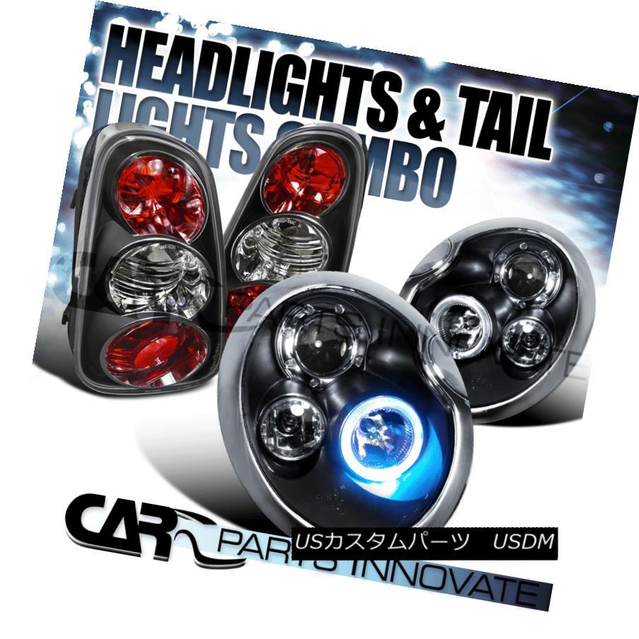 テールライト 02-04 Mini Cooper Black Clear Halo Projector Headlights+Tail Brake Lamps 02-04ミニクーパーブラッククリアハロープロジェクターヘッドライト+タイ lブレーキランプ