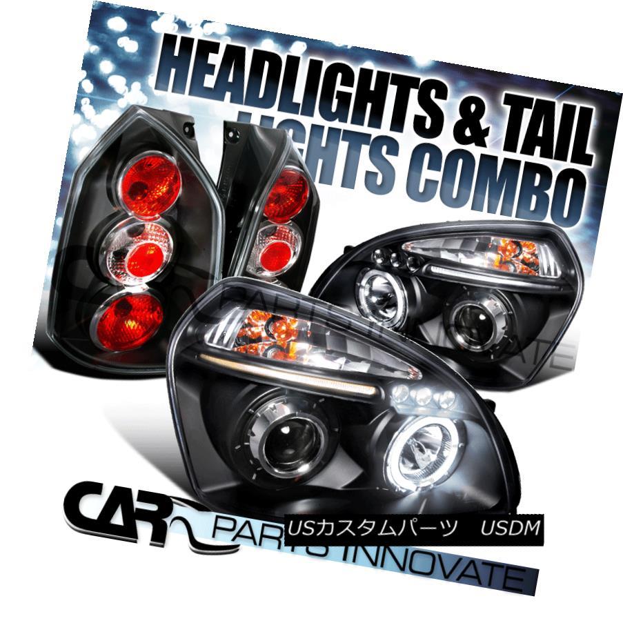 テールライト For 05-09 Tucson Black Halo LED Projector Headlights+Tail Lamp 05-09ツーソンブラックハローLEDプロジェクターヘッドライト+タイ lランプ