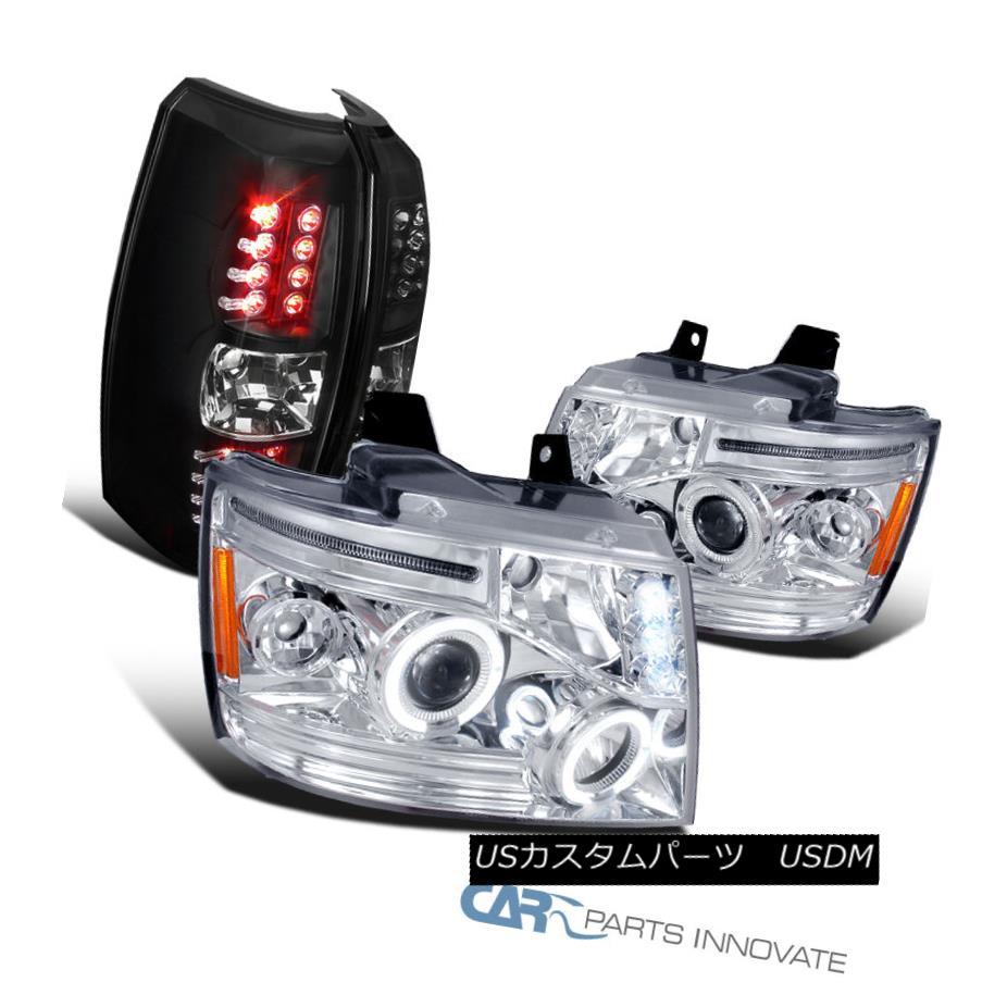 テールライト 07-12 Chevy Avalanche Chrome LED Halo Projector Headlights+Black LED Tail Lights 07-12 Chevy Avalanche Chrome LEDハロープロジェクターヘッドライト+ Bla ck LEDテールライト