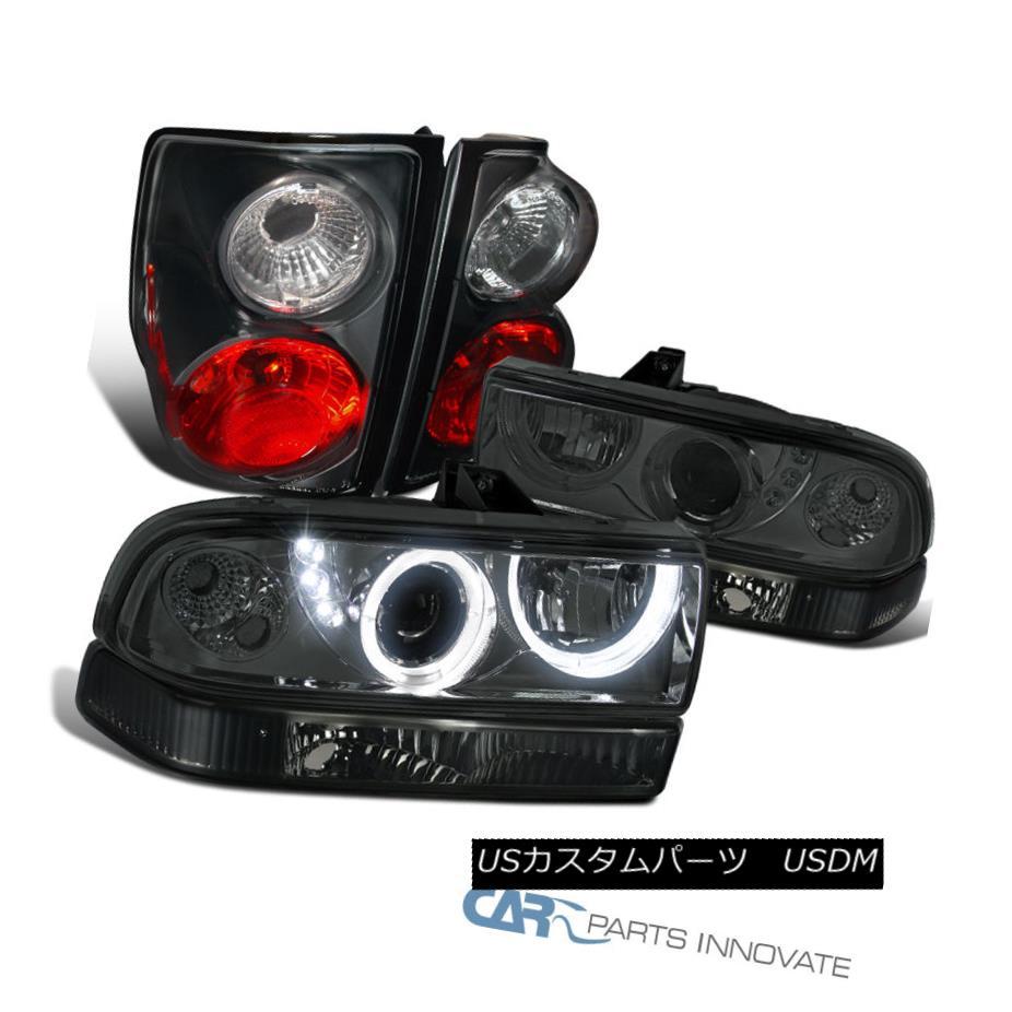 テールライト 98-04 Chevy S10 Smoke SMD LED Halo Projector Head Bumper Lights+Black Tail Lamps 98-04 Chevy S10 Smoke SMD LEDハロープロジェクターヘッドバンパーライト+ブラックテールランプ