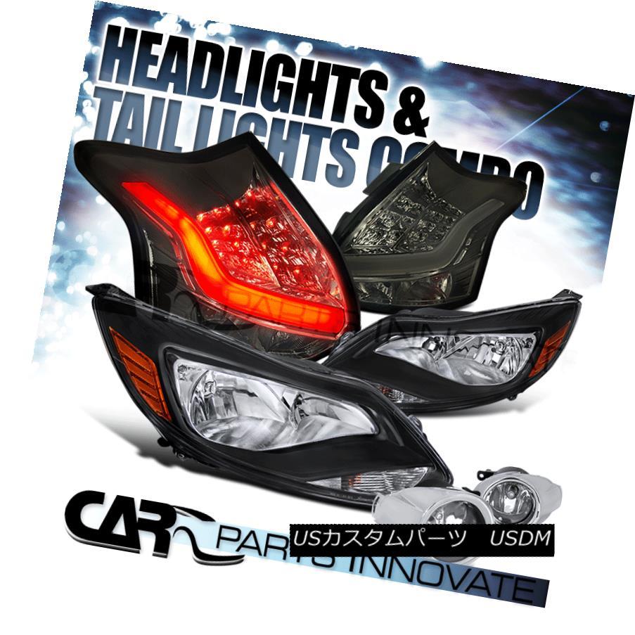 テールライト For US / Canadian 12-14 Ford Focus Black Headlight+Fog Lamp+Smoke LED Tail Light 米国/カナダ向け12-14フォードフォーカスブラックヘッドライト+フォグランプ+スモークLEDテールライト