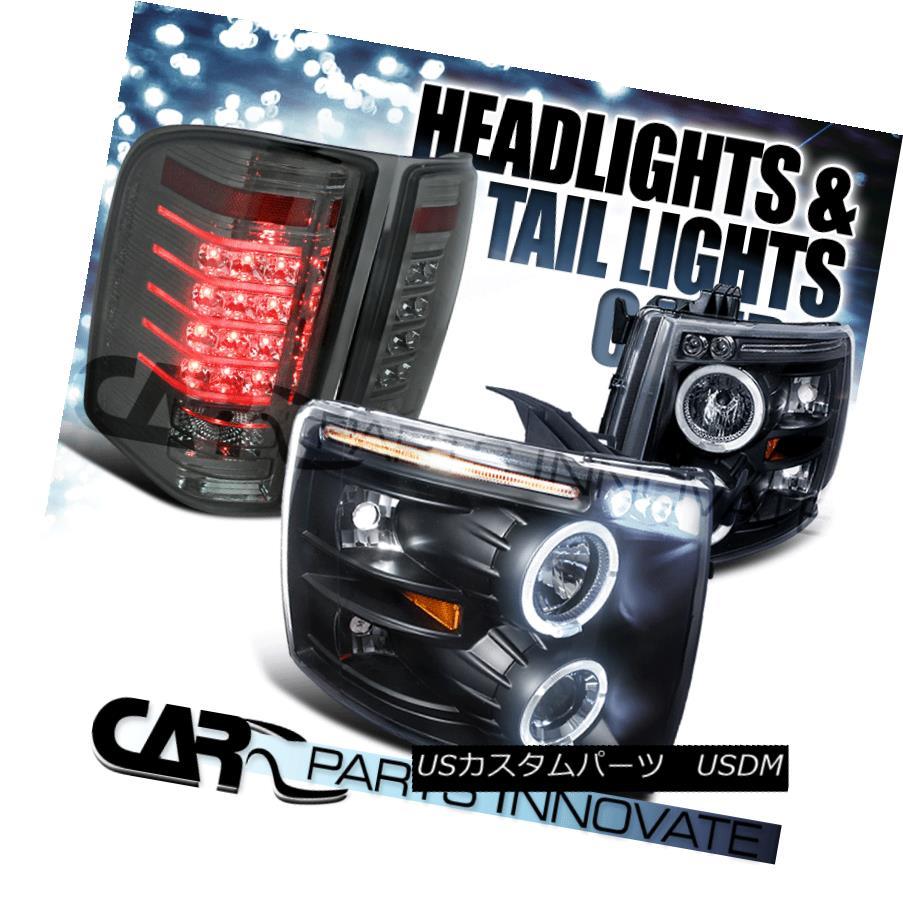 テールライト 07-14 Silverado Black Halo LED Projector Headlights+Smoke LED Tail Lamp 07-14 Silverado Black Halo LEDプロジェクターヘッドライト+ Smo ke LEDテールランプ