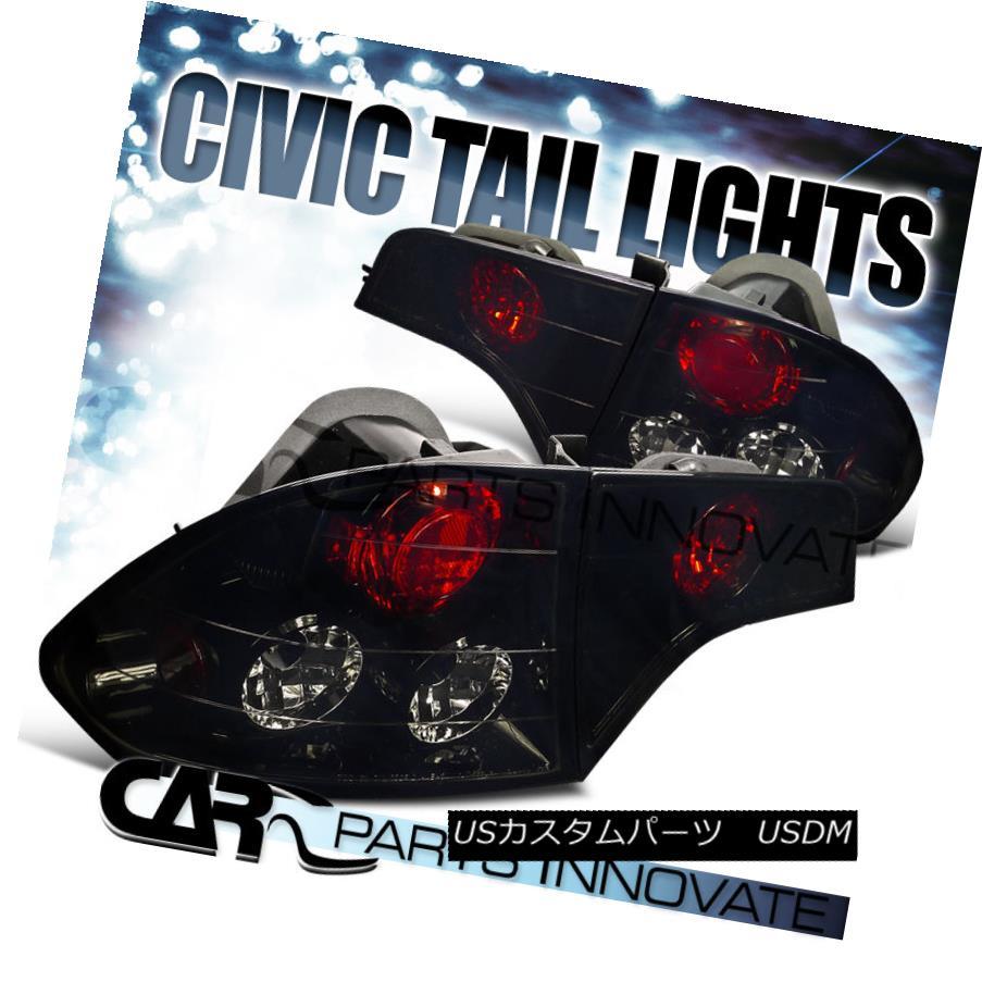 テールライト Glossy Black For Honda 06-11 Civic 4Dr Sedan Smoke Tail Light Brake Rear Lamp ホンダのための光沢のある黒06-11シビック4Drセダン煙テールライトブレーキリアライト