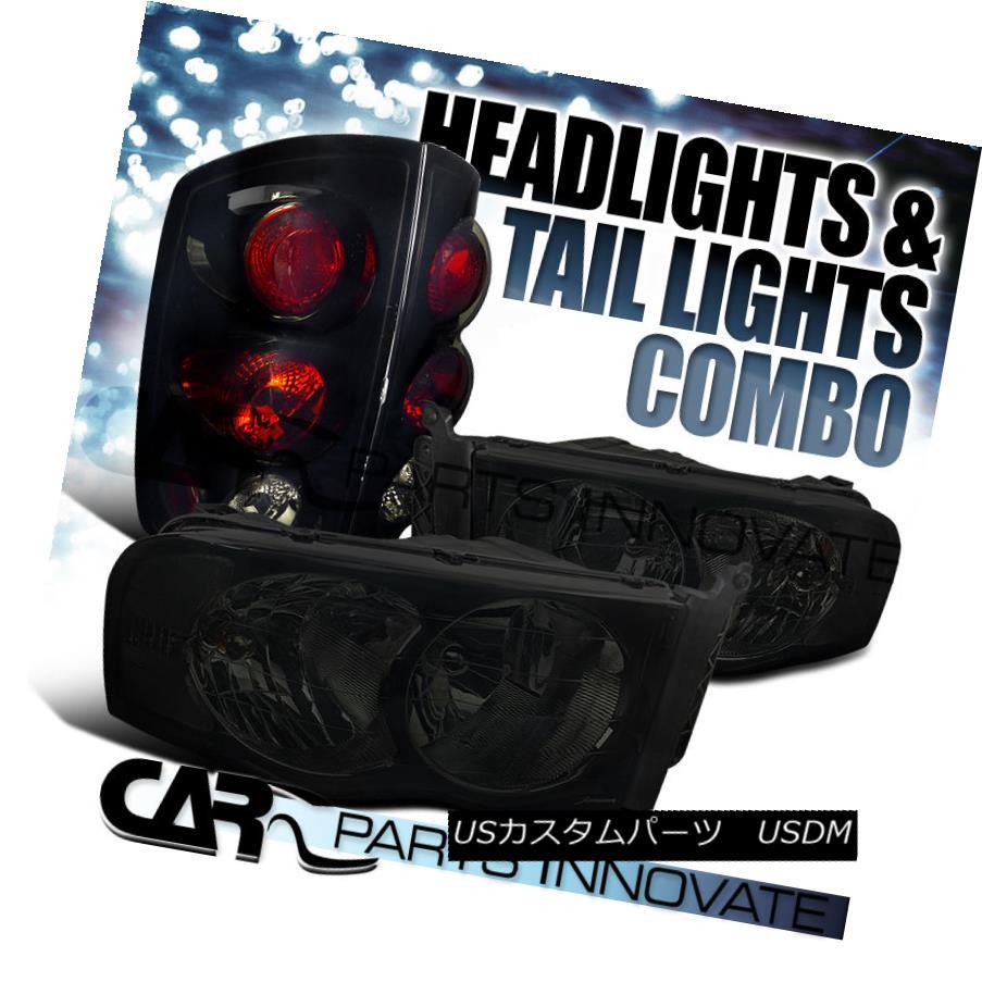 テールライト 02-05 Ram 1500/2500/3500 Smoke Crystal Headlights+Glossy Black Tail Brake Lamps 02-05 Ram 1500/2500/3500スモーククリスタルヘッドライト+グロー ssyブラックテールブレーキランプ