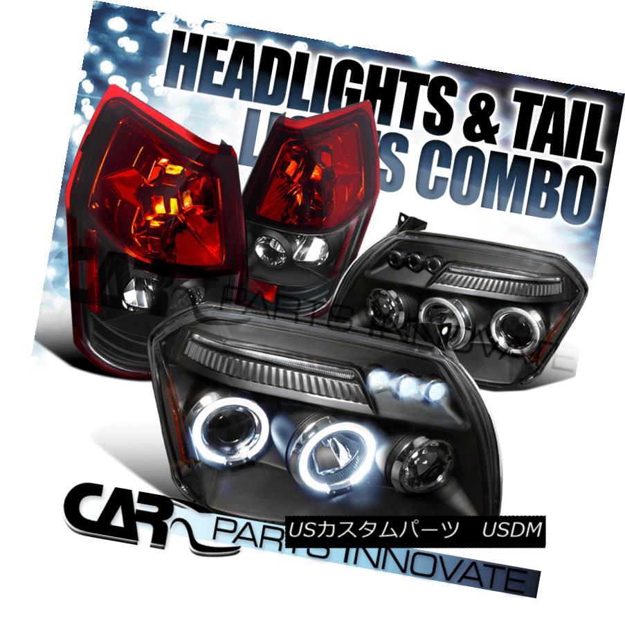 テールライト Dodge 05-07 Magnum Black Halo LED DRL Projector Headlights+Red Tail Brake Lamps ドッジ05-07マグナムブラックハローLED DRLプロジェクターヘッドライト+レッドテールブレーキランプ