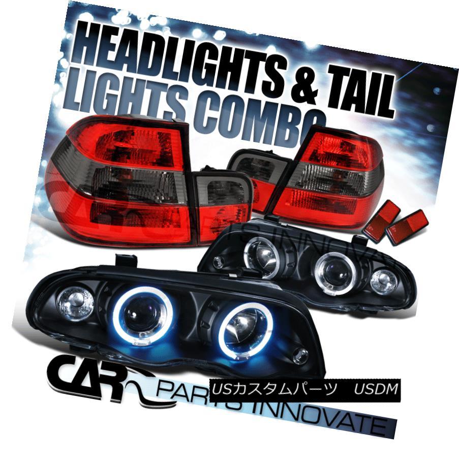 テールライト 99-01 BMW E46 323i 328i 4Dr Black Halo Projector Headlights+Red Tail Lamps 99-01 BMW E46 323i 328i 4Drブラックハロープロジェクターヘッドライト+レッドテールランプ