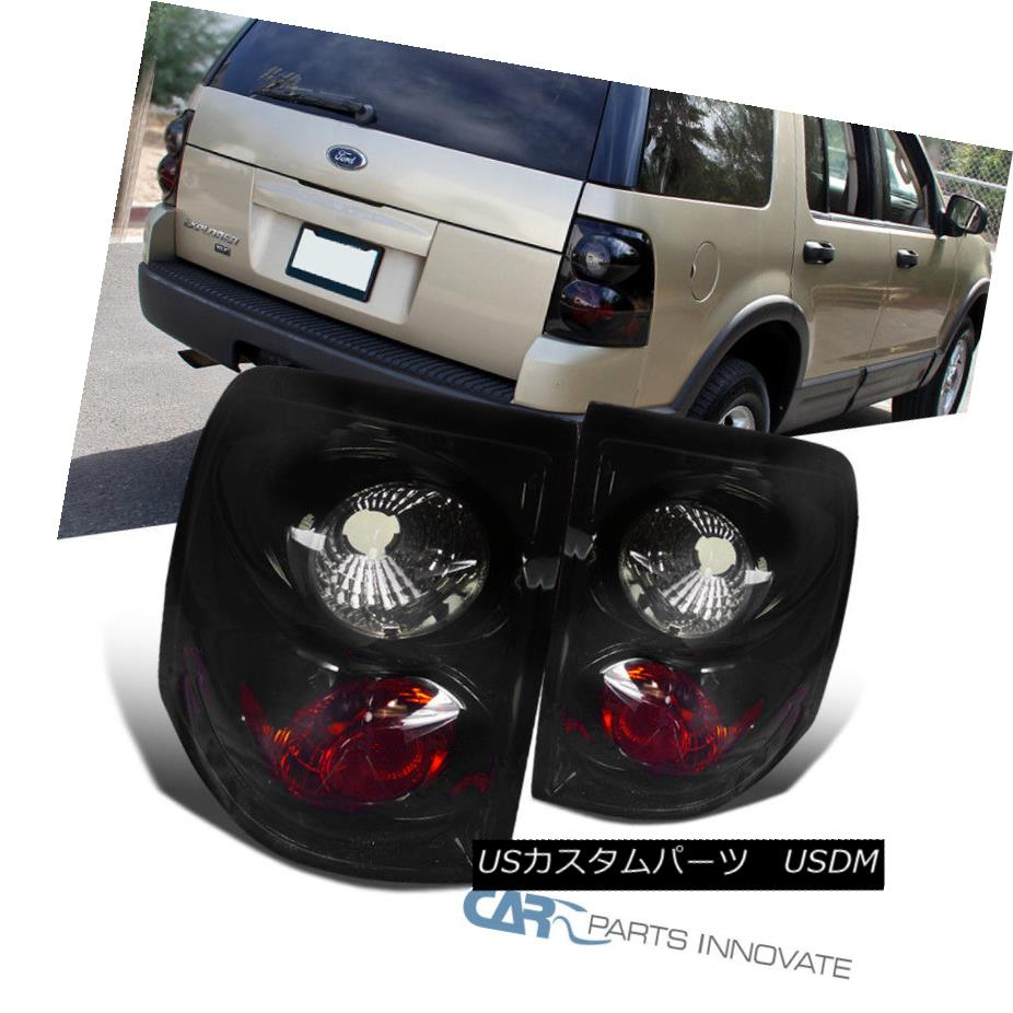 テールライト Glossy Black 02-05 Ford Explorer Parking Tail Lights Smoke Rear Brake Lamps Pair 光沢のある黒02-05フォードエクスプローラーパーキングテールライトスモークリアブレーキランプペア