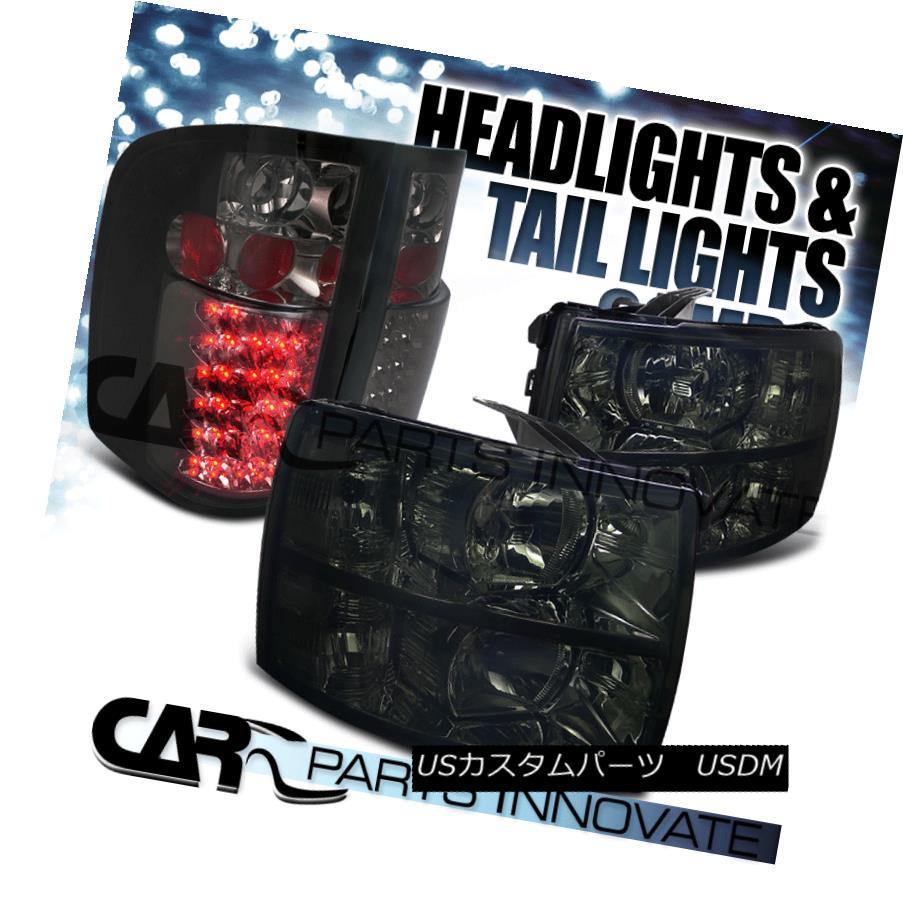 テールライト 07-14 Silverado 1500 2500 3500 Headlights Smoke+LED Tail Brake Lamps Tinted 07-14 Silverado 1500 2500 3500ヘッドライトスモーク+ LEDテールブレーキランプ