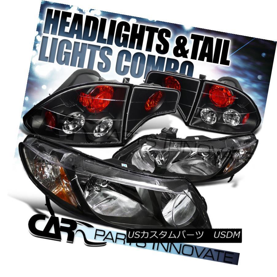 テールライト For 06-11 Civic 4Dr Sedan Diamond Black Headlights+Clear Tail Brake Lamps 06-11シビック4Drセダンダイヤモンドブラックヘッドライト+ Cle arテールブレーキランプ