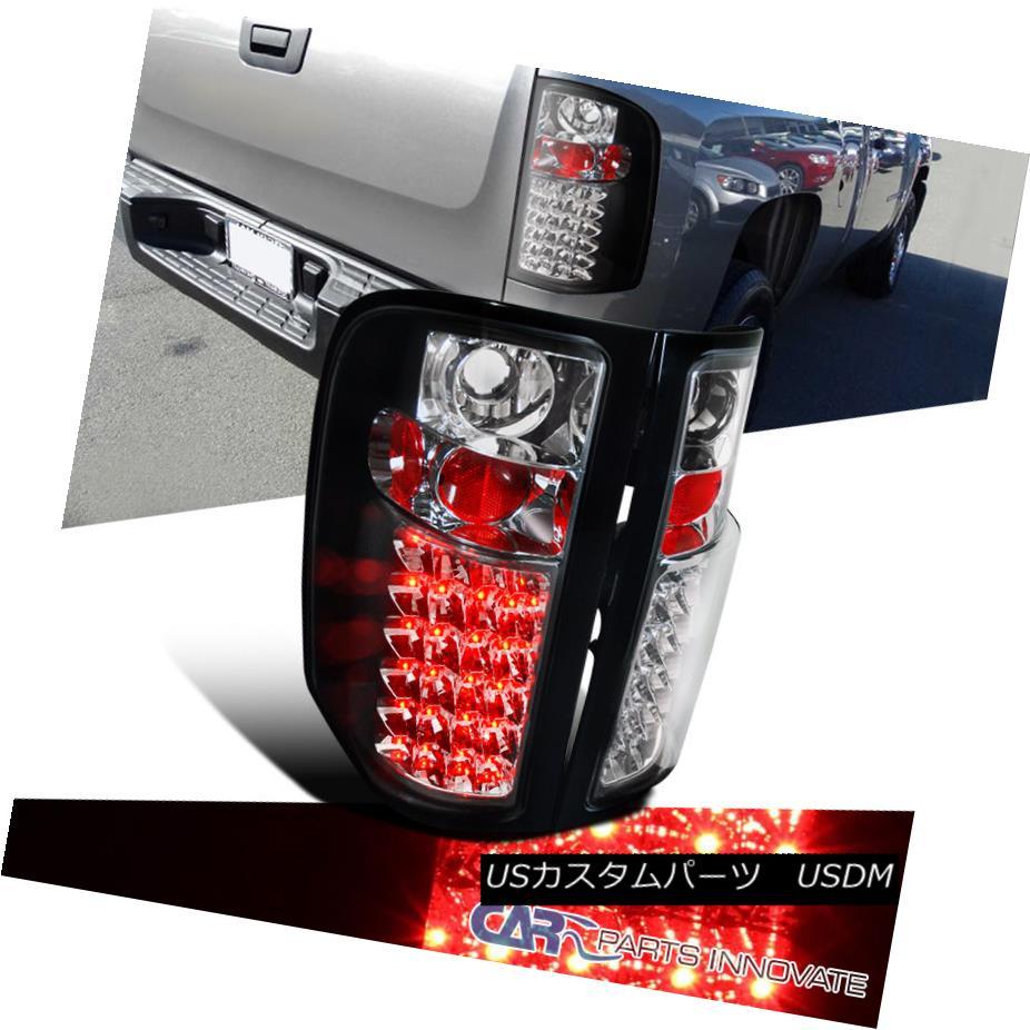 テールライト 2007-2014 Chevy Silverado 1500 2500 3500 Pickup Black LED Tail Lights Rear Lamps 2007-2014 Chevy Silverado 1500 2500 3500ピックアップブラックLEDテールライトリアランプ
