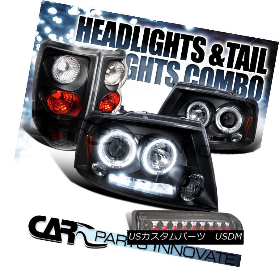 テールライト 04-08 F150 Black Halo Projector Headlights+Tail Lamps+Smoke LED 3rd Brake Light 04-08 F150ブラックハロープロジェクターヘッドライト+タイ lランプ+スモークLED第3ブレーキライト