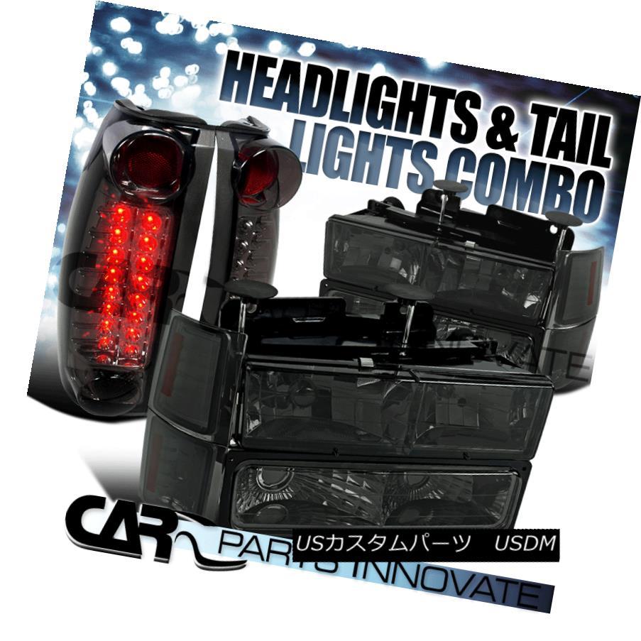 テールライト 94-98 Chevy C10 C/K 1500 Smoke Headlights Bumper Corner Lamps+LED Tail Lights 94-98シボレーC10 C / K 1500スモークヘッドライトバンパーコーナーランプ+ LEDテールライト