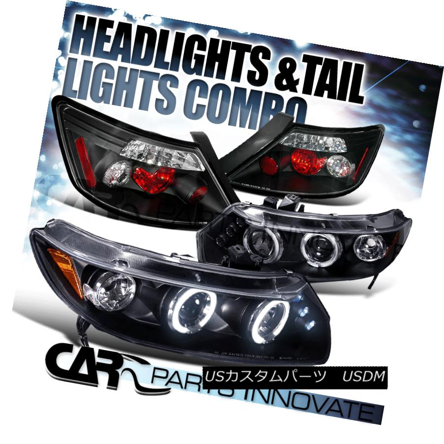 テールライト For 06-11 Honda Civic 2Dr Coupe Black Halo LED Projector Headlights+Tail Lamp 06-11ホンダシビック2DrクーペブラックハローLEDプロジェクターヘッドライト+タイ lランプ