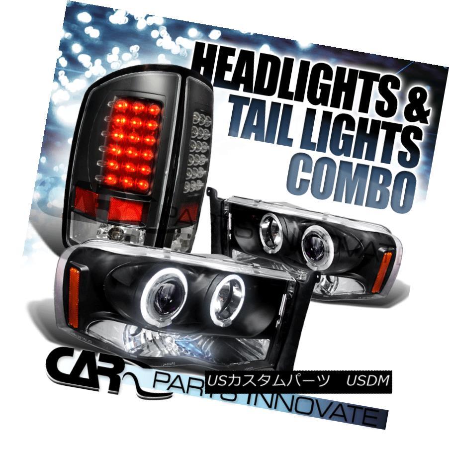 テールライト Dodge 02-05 Ram Halo LED Projector Headlights+LED Tail Lamp Black ドッジ02-05ラムハローLEDプロジェクターヘッドライト+ LEDテールランプブラック
