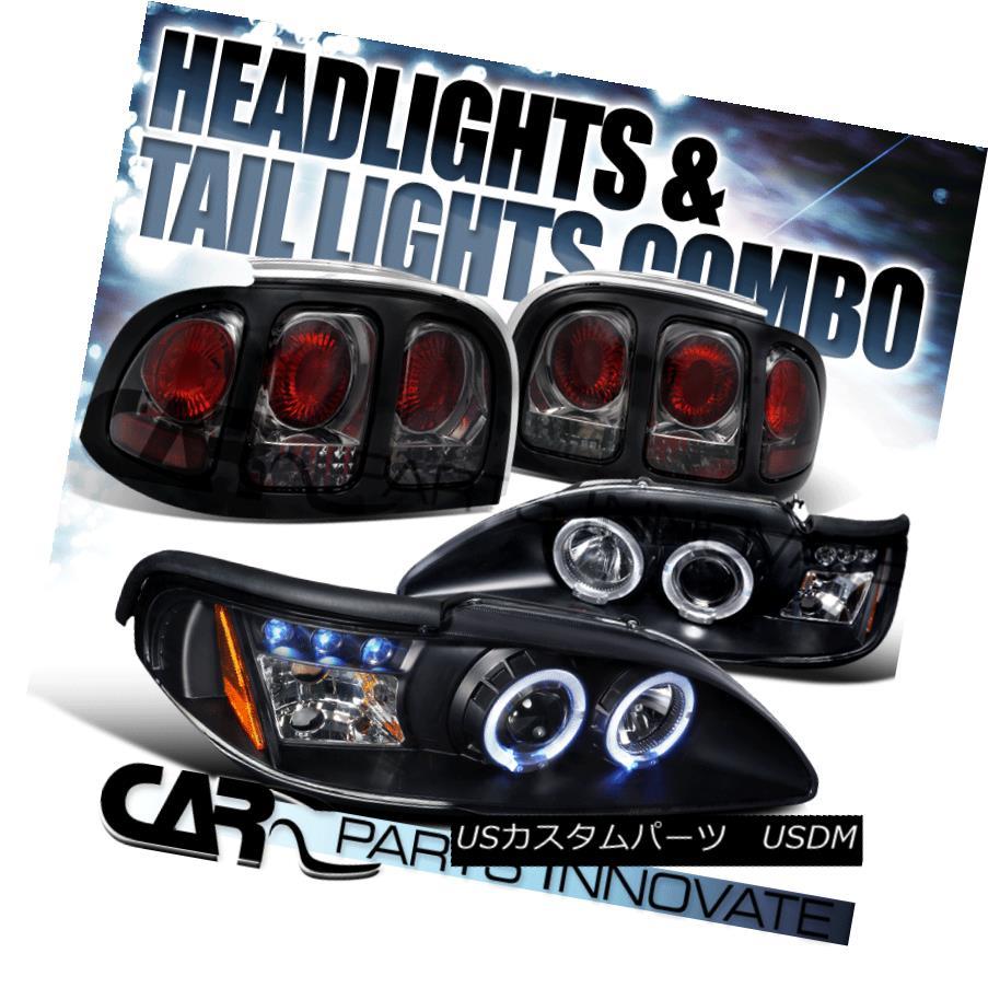 テールライト 94-98 Ford Mustang GT Cobra Black LED Halo Projector Headlights+Smoke Tail Lamps 94-98 Ford Mustang GTコブラブラックLEDハロープロジェクターヘッドライト+スモーキー keテールランプ