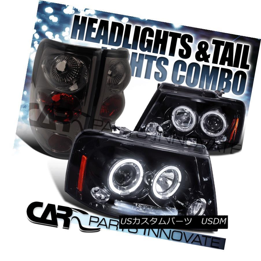 テールライト Glossy Black 04-08 F-150 Halo LED Projector Headlights+Smoke Rear Tail Lamps Glossy Black 04-08 F-150 Halo LEDプロジェクターヘッドライト+ Smo keリアテールランプ