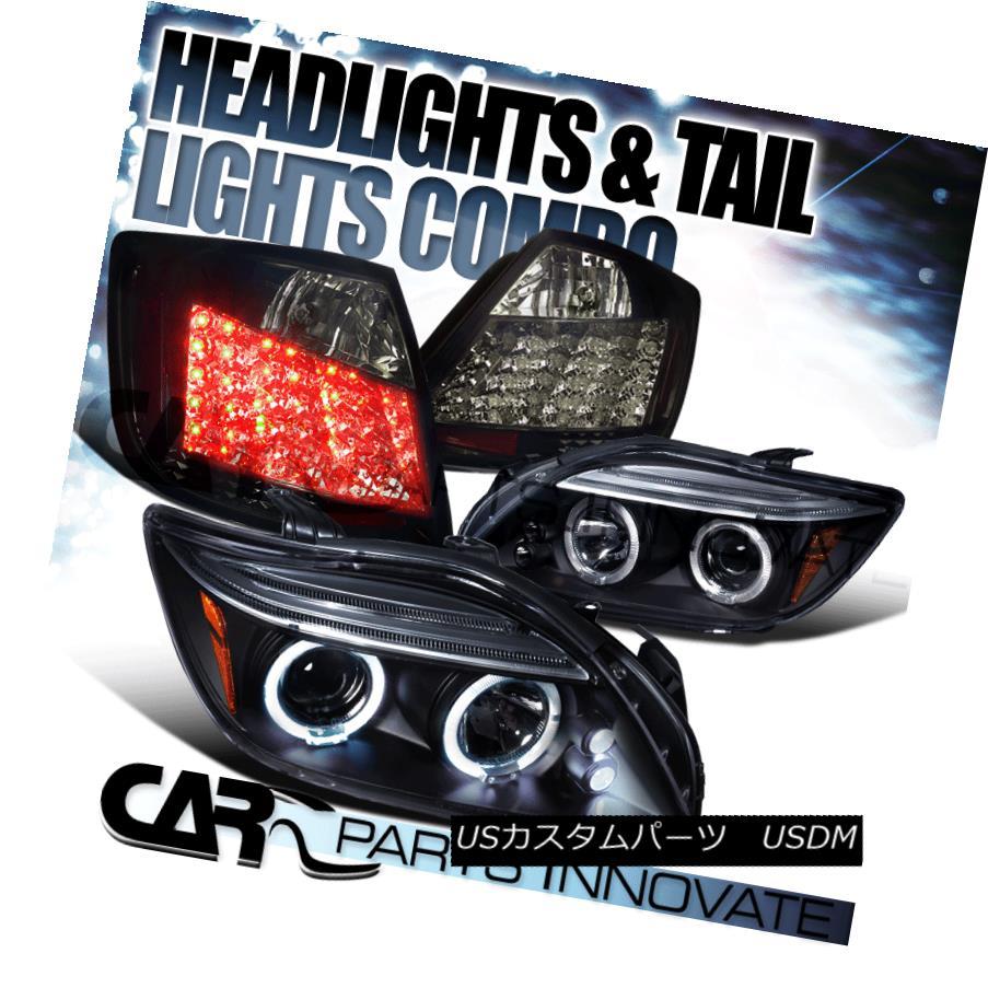 テールライト 05-10 Scion tC Black Halo LED Projector Headlights+Glossy Black LED Tail Lamp 05-10サイオンtCブラックハローLEDプロジェクターヘッドライト+グロー ssyブラックLEDテールランプ
