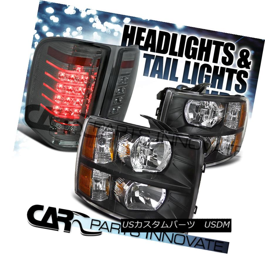 テールライト 07-14 Chevy Silverado 1500 2500 3500 Crystal Black Headlight+Smoke LED Tail Lamp 07-14 Chevy Silverado 1500 2500 3500クリスタルブラックヘッドライト+スモーク e LEDテールランプ