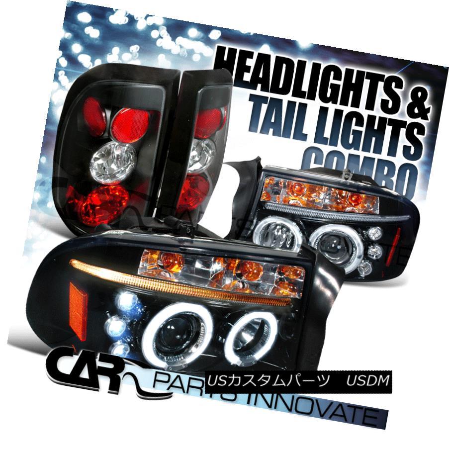 テールライト Glossy Black 97-04 Dodge Dakota Halo LED Projector Headlights+Black Tail Lamp Glossy Black 97-04 Dodge Dakota Halo LEDプロジェクターヘッドライト+ Bla ckテールランプ