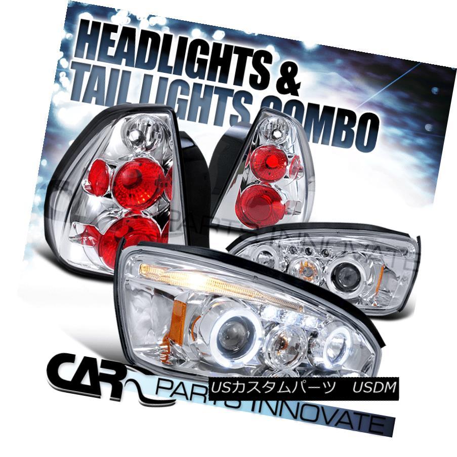 テールライト 04-07 Chevy Malibu Chrome Halo LED Projector Headlights+Clear Rear Tail Lamps 04-07 Chevy Malibu Chrome Halo LEDプロジェクターヘッドライト+ Cle arリアテールランプ