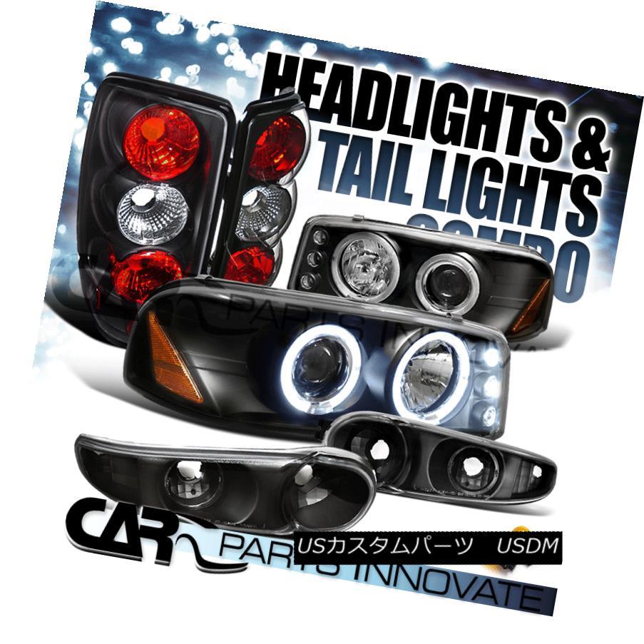 テールライト 01-06 Yukon Denali Black Halo LED Projector Head Bumper Lights+Tail Lamp 01-06ユーコンデナリブラックハローLEDプロジェクターヘッドバンパーライト+テールランプ