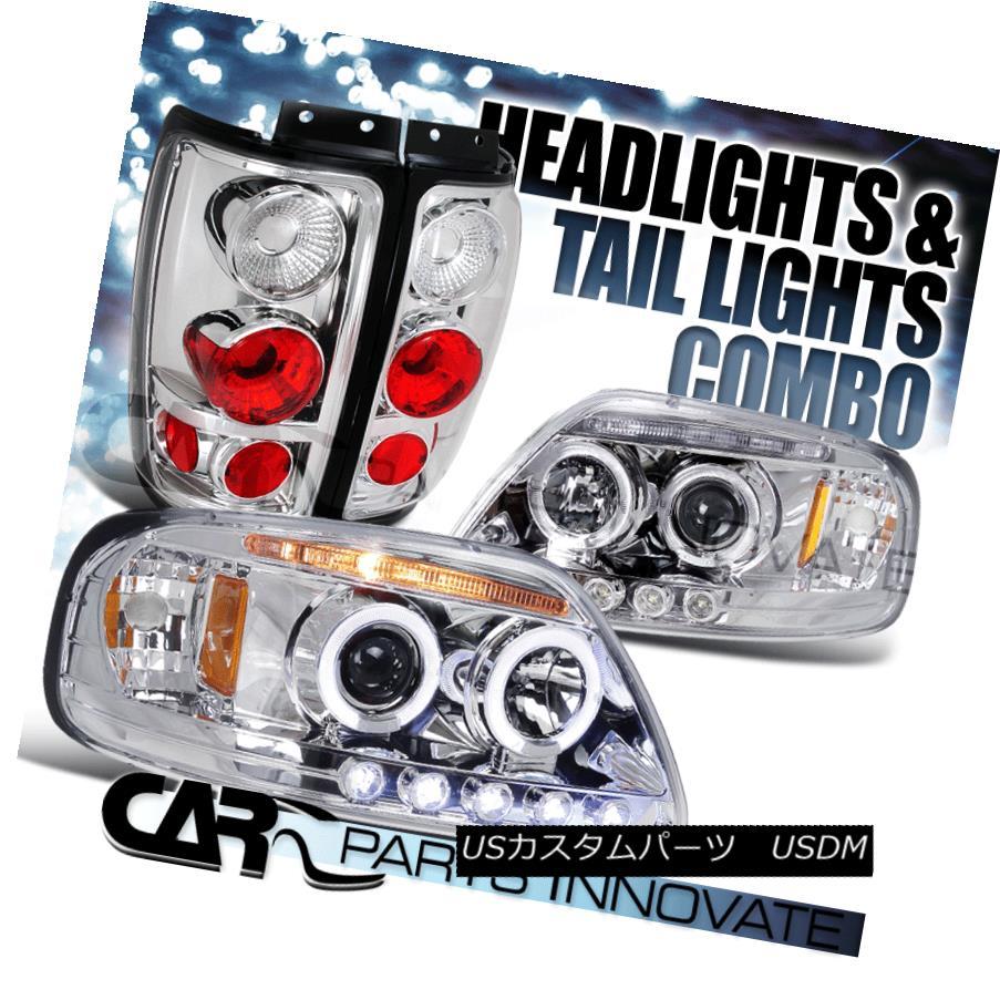 テールライト 1997-2002 Ford Expedition Chrome Halo LED Projector Headlights+Tail Lamp 1997-2002フォード遠征クロームハローLEDプロジェクターヘッドライト+タイ lランプ