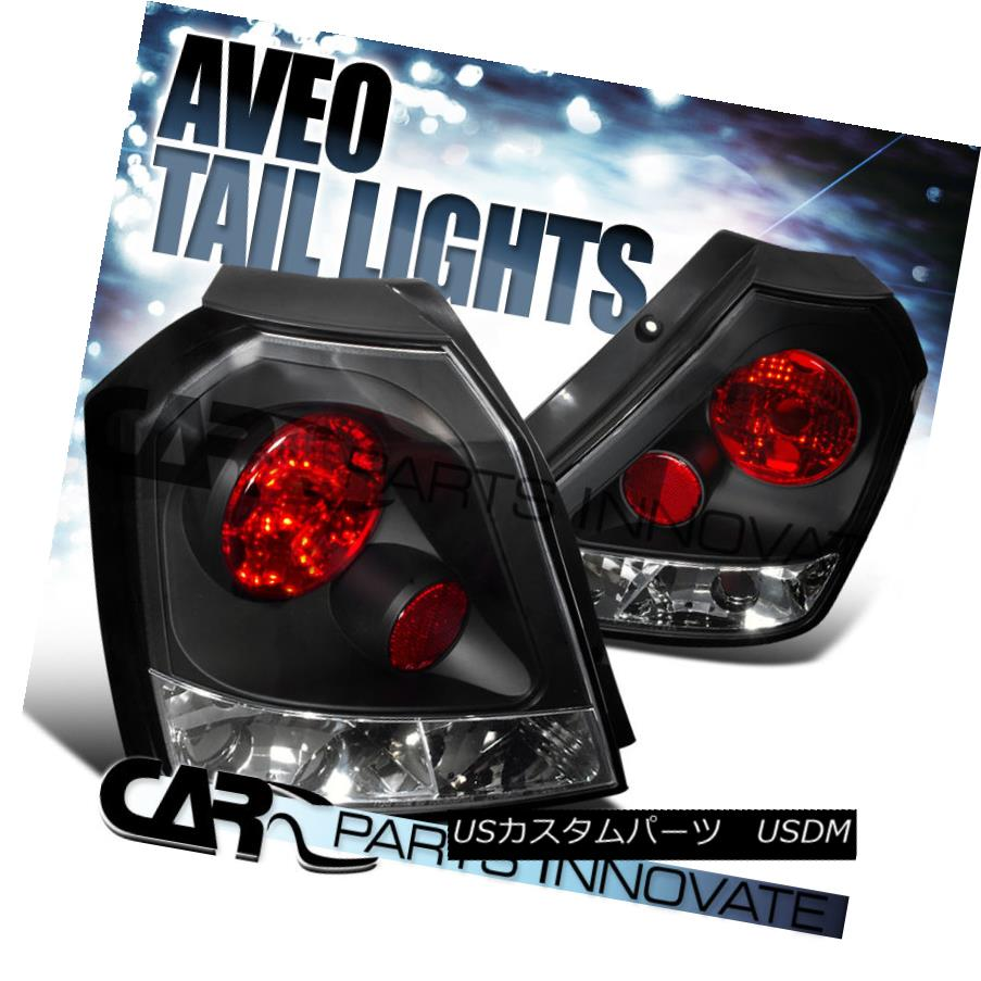 テールライト Chevy 04-08 Aveo Aveo5 Hatchback Black Tail Lights Brake Parking Rear Lamps Pair シボレー04-08 Aveo Aveo5ハッチバックブラックテールライトブレーキパークリアライトペア