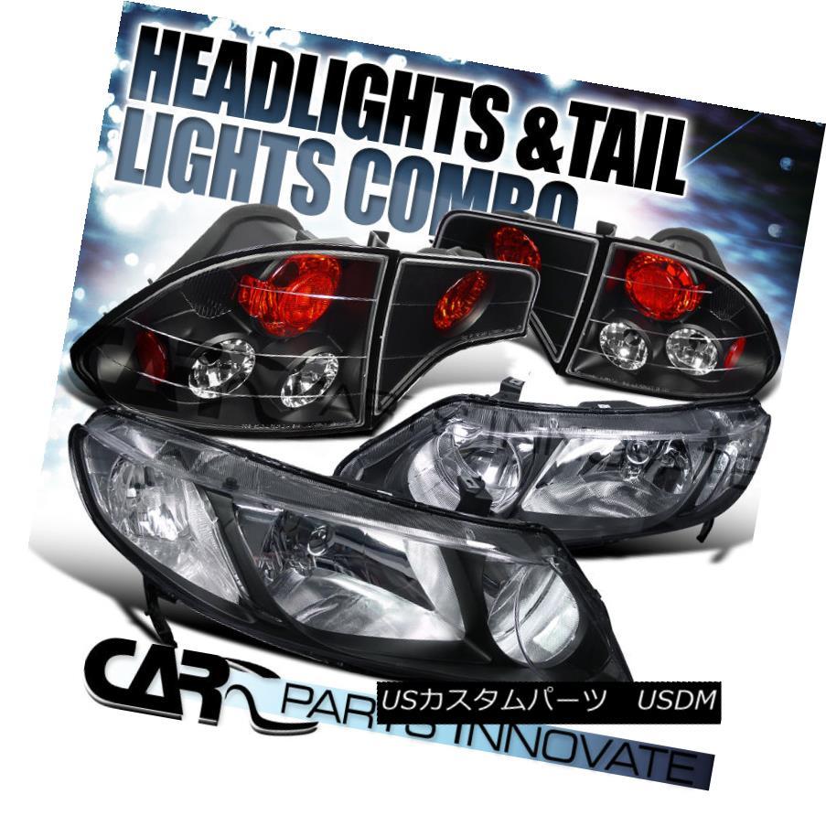 テールライト Fit Honda 06-11 Civic 4Dr Sedan Crystal Black Headlight+Black Tail Brake Lamp フィットホンダ06-11シビック4Drセダンクリスタルブラックヘッドライト+ブラス kテールブレーキランプ