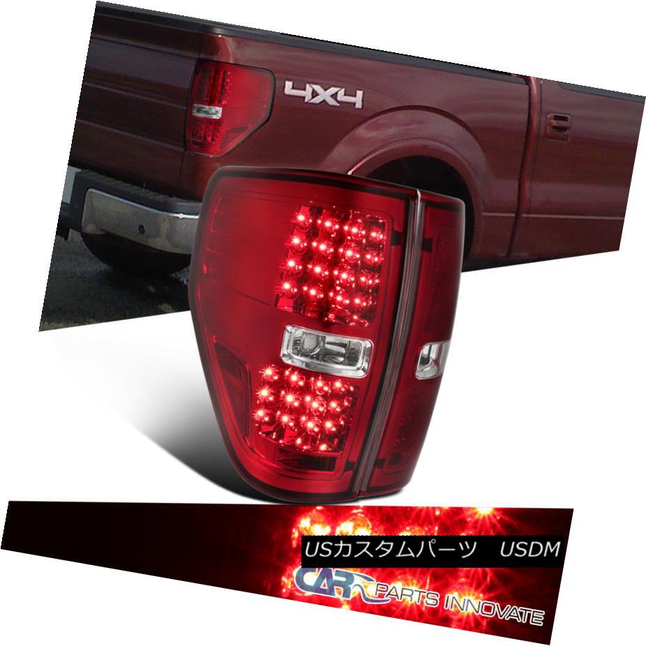 テールライト 2009-2014 Ford F150 Truck Pickup Red LED Tail Lights Rear Brake Lamps Left+Right 2009-2014フォードF150トラックピックアップレッドLEDテールライトリアブレーキランプ左+右