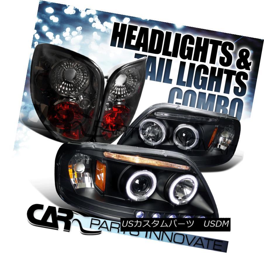 テールライト Ford 97-00 F150 Black Dual Halo LED Projector Headlights+Smoke Tint Tail Lamps Ford 97-00 F150ブラックデュアルHalo LEDプロジェクターヘッドライト+スモーキー keテントテールランプ