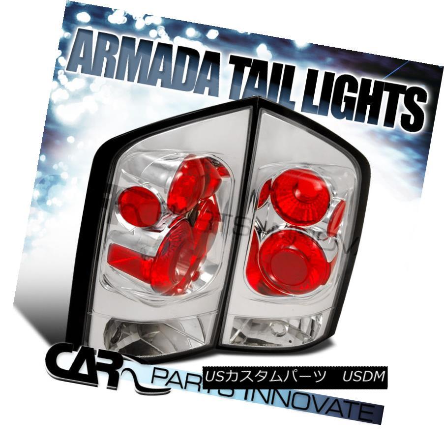 テールライト For Nissan 05-15 Armada Parking Tail Lights Brake Stop Rear Lamps Chrome Clear 日産用05-15武者用パーキングテールライトブレーキストップリアライトクロームクリア