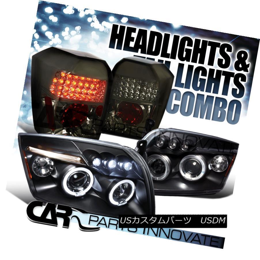 テールライト 07-12 Dodge Caliber Black Halo LED Projector Headlights+Smoke LED Tail Lamp 07-12ダッジキャリバーブラックハローLEDプロジェクターヘッドライト+スモール ke LEDテールランプ