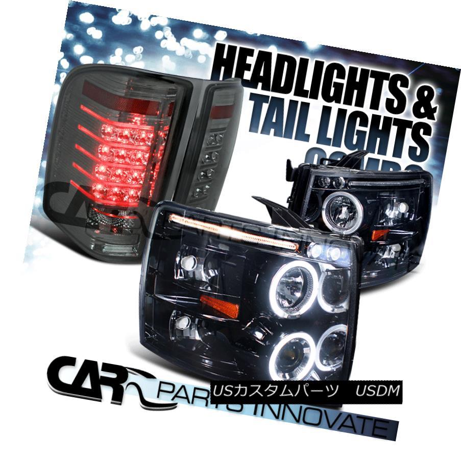<title>車用品 バイク用品 >> パーツ ライト ランプ テールライト Glossy Black 07-14 Silverado 宅配便送料無料 LED Halo Projector Headlights+Smoke Tail Lamp 光沢のある黒07-14 LEDハロープロジェクターヘッドライト+スモール ke LEDテールランプ</title>