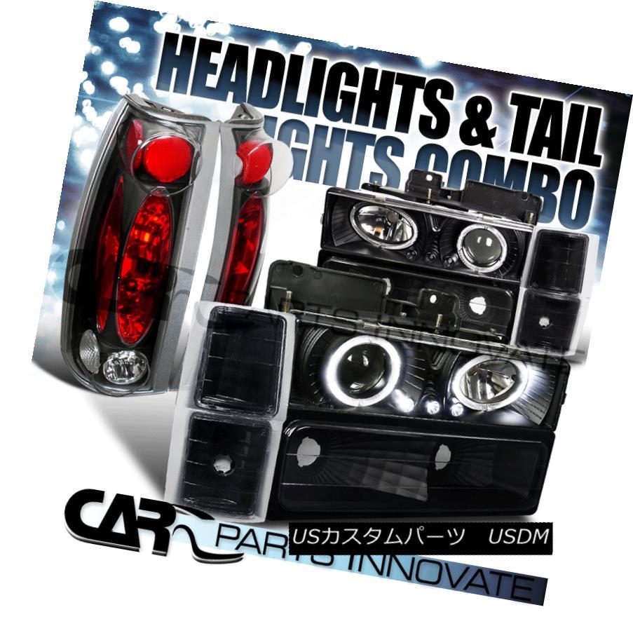 テールライト 94-98 Chevy C10 C/K Tahoe Black LED Halo Projector Headlights+Tail Lamps 94-98シボレーC10 C / KタホブラックLEDハロープロジェクターヘッドライト+タイ lランプ