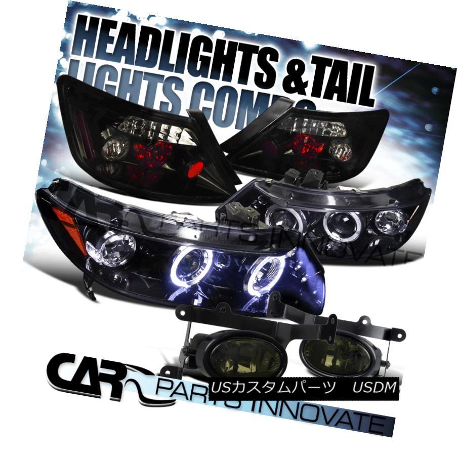 テールライト Glossy Black Fit 06-08 Civic 2Dr Halo Projector Headlight+Tail+Smoke Fog Light 光沢ブラックフィット06-08シビック2Drハロープロジェクターヘッドライト+テール +スモークフォグライト