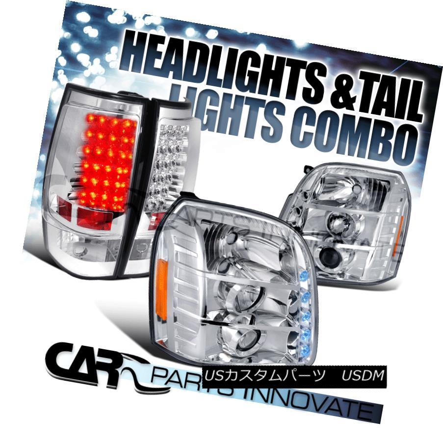 テールライト 07-12 GMC Yukon XL 1500 2500 Chrome Projector Headlights+LED Tail Brake Lamps 07-12 GMC Yukon XL 1500 2500クロームプロジェクターヘッドライト+ LEDテールブレーキランプ