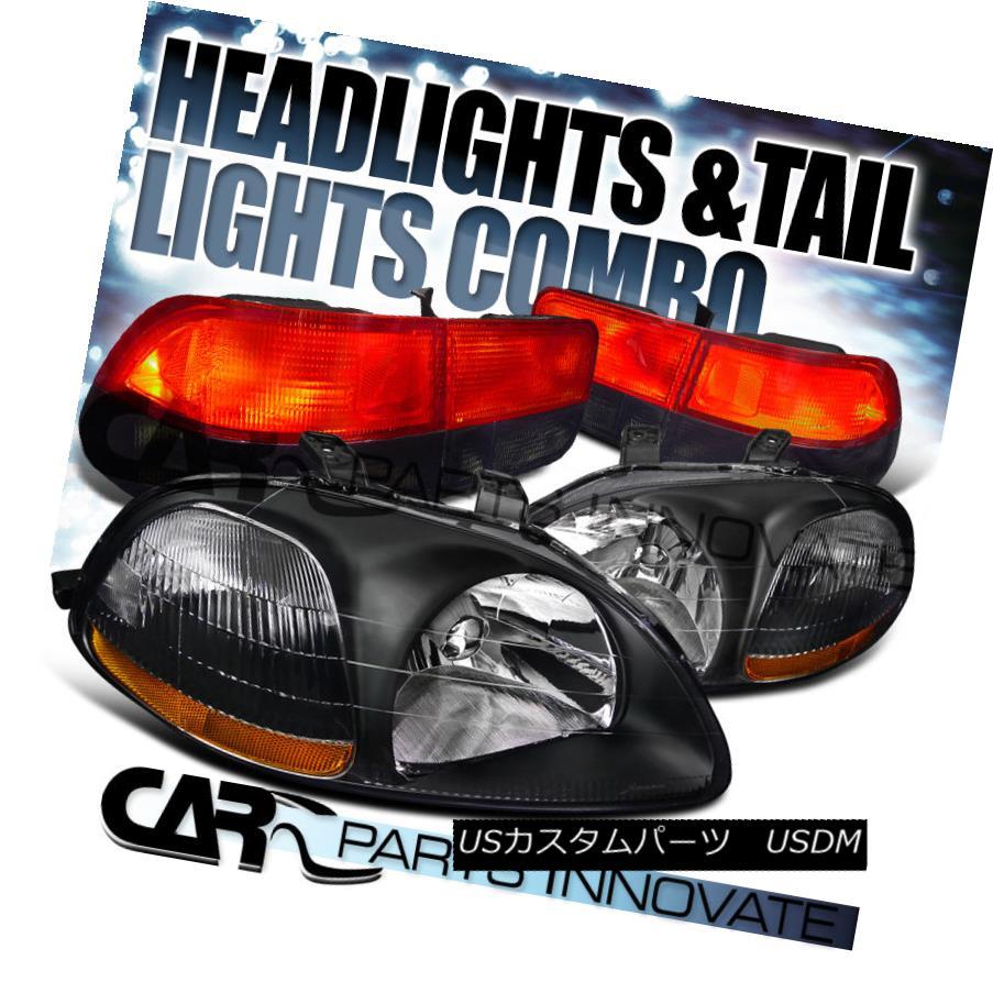 テールライト For 96-98 Honda Civic 2Dr Diamond Black Headlights+Red Smoke Tail Brake Lamps 96-98ホンダシビック2Drダイヤモンドブラックヘッドライト+レッド煙テールブレーキランプ