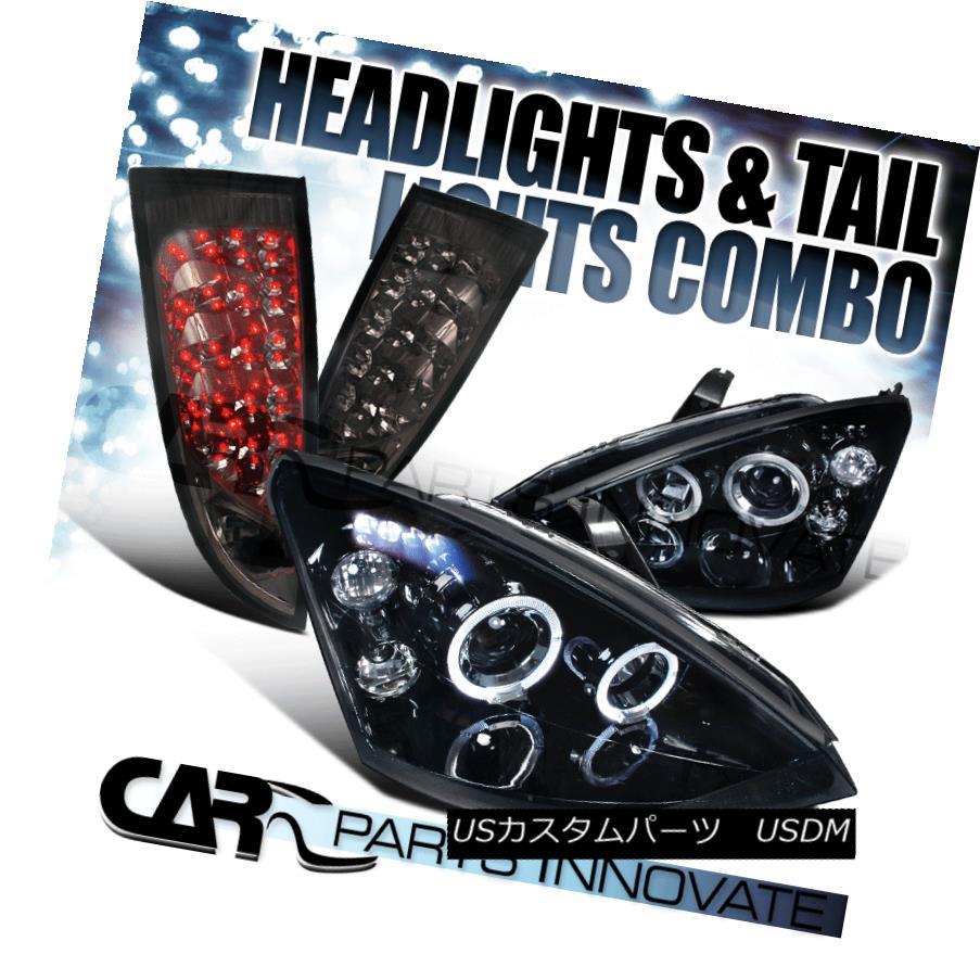 テールライト Piano Black 00-04 Focus 3/5Dr Halo Projector Headlights+Smoke LED Tail Lamps ピアノブラック00-04フォーカス3 / 5Drハロープロジェクターヘッドライト+スモール ke LEDテールランプ