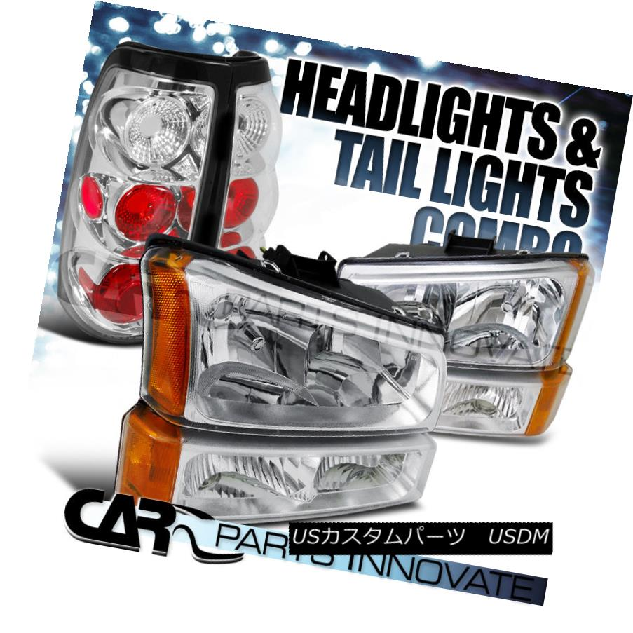 テールライト Chevy 03-07 Silverado Chrome Clear Headlights+Bumper Lamps+Rear Tail Lights Chevy 03-07 Silverado Chrome Clear Headlights + Bum 1ランプ+リアテールライト