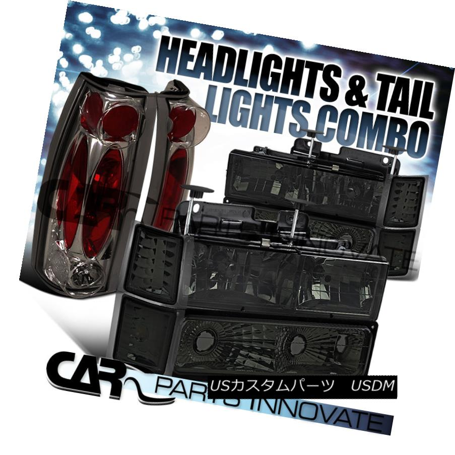 テールライト 94-98 Chevy C10 C/K 1500 2500 Smoke Headlights+Bumper Corner+Tinted Tail Lamp 94-98 Chevy C10 C / K 1500 2500スモークヘッドライト+ブーン /コーナー+ティンテッドテールランプ