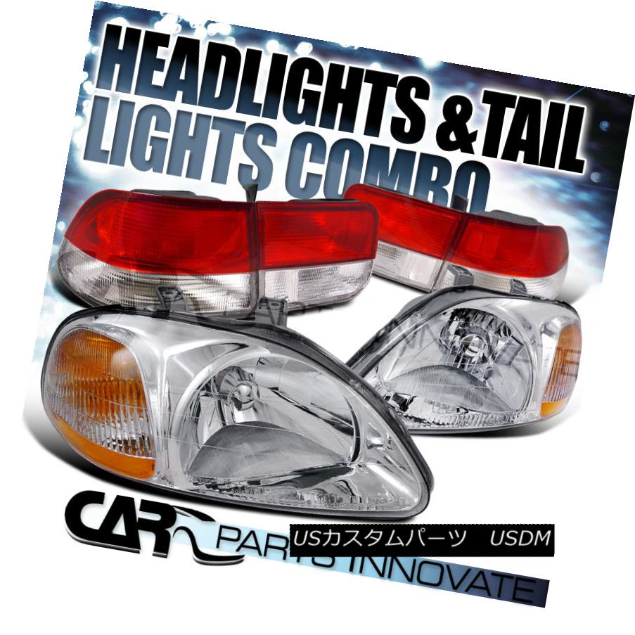 テールライト Fit 96-98 Civic 2Dr Coupe JDM Crystal Chrome Headlights+Red/Clear Tail Lamps フィット96-98シビック2DrクーペJDMクリスタルクロームヘッドライト+レッド /クリアテールランプ
