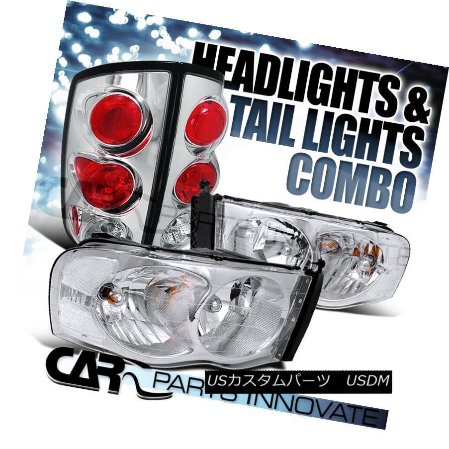 テールライト 02-05 Ram 1500/2500/3500 Clear Crystal Headlights+Chrome Tail Brake Lamps 02-05 Ram 1500/2500/3500クリアクリスタルヘッドライト+ Chr omeテールブレーキランプ