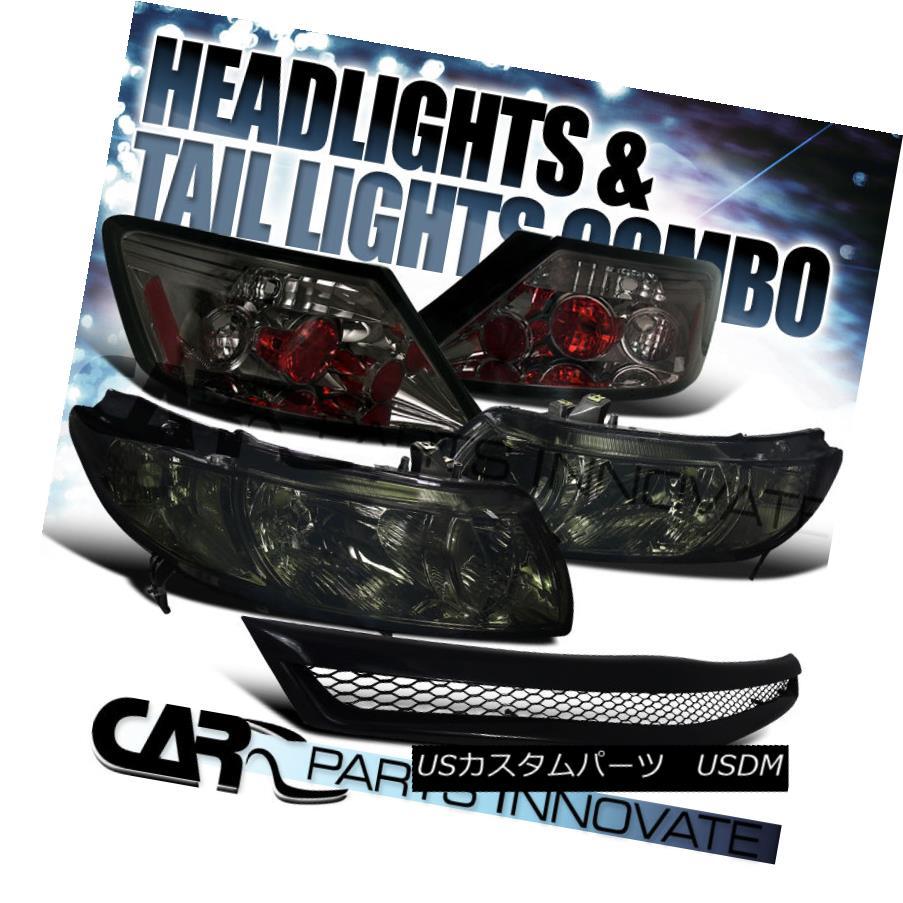テールライト Fit Honda 06-08 Civic 2Dr Coupe Crystal Smoke Headlights+Tail Lights+Mesh Grille フィットホンダ06-08シビック2Drクーペクリスタルスモークヘッドライト+タイ lライト+メッシュグリル