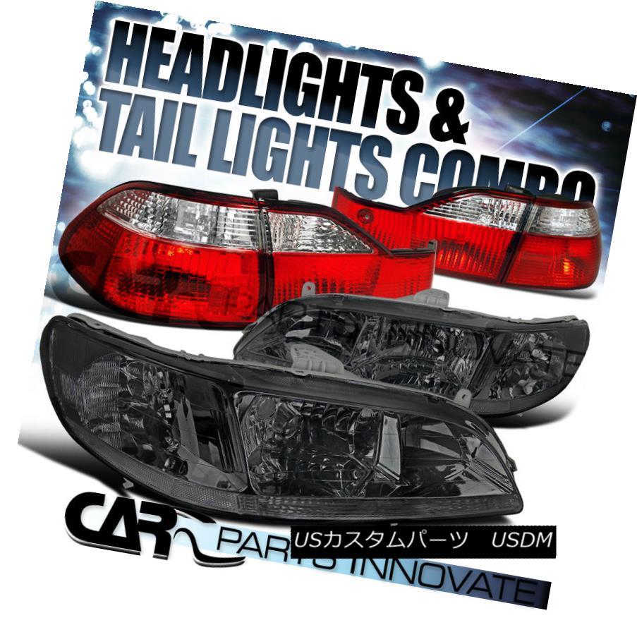 テールライト For 1998-00 Honda Accord 4Dr Sedan Smoke Crystal Headlights+Red Clear Tail Lamps 1998-00ホンダアコード4Drセダンスモーククリスタルヘッドライト+レッドクリアテールランプ